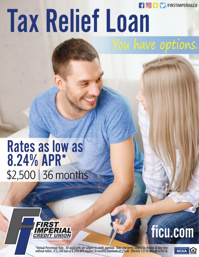 Tax relief loan rates as low as 8.24% APR for 36 months, up to $2500