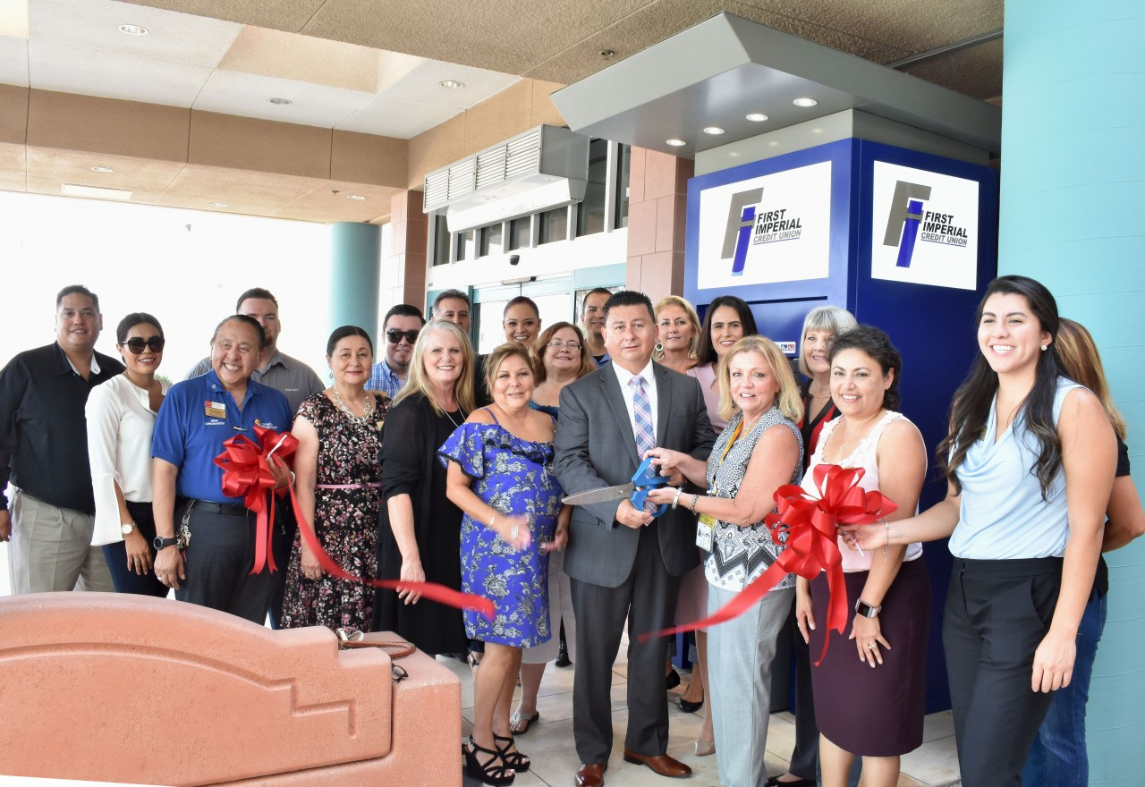 FICU cuts ribbon at new ATM at El Centro Regional Medical Center.
