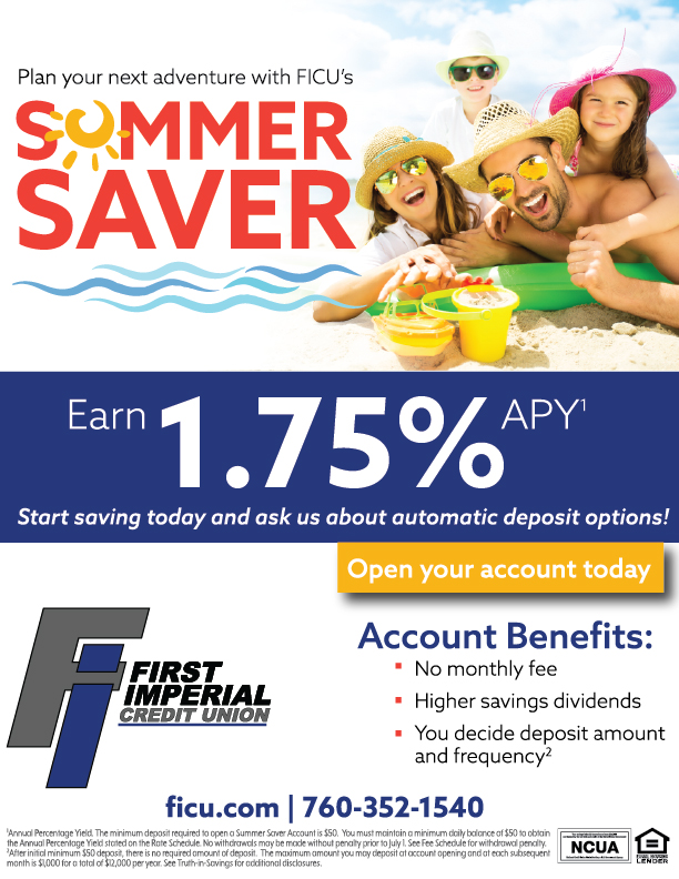 Plan your next adventure with First Imperial Credit Union Summer Saver Account.